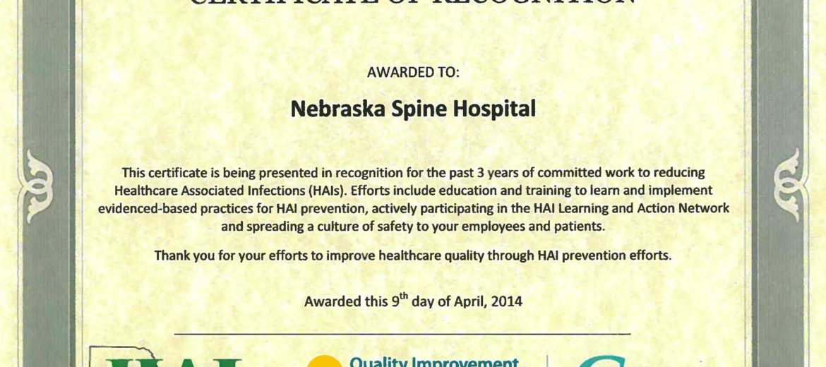 NSH recognized fro reducing healthcare associated infections