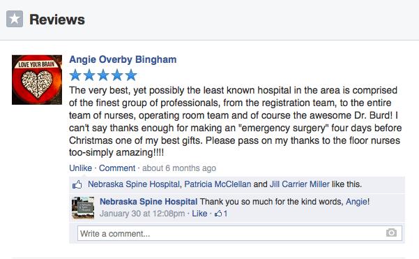 Five stars for Nebraska Spine Hospital
